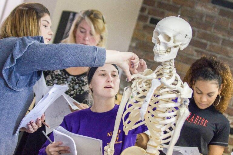 Massage Students Studying Skeleton